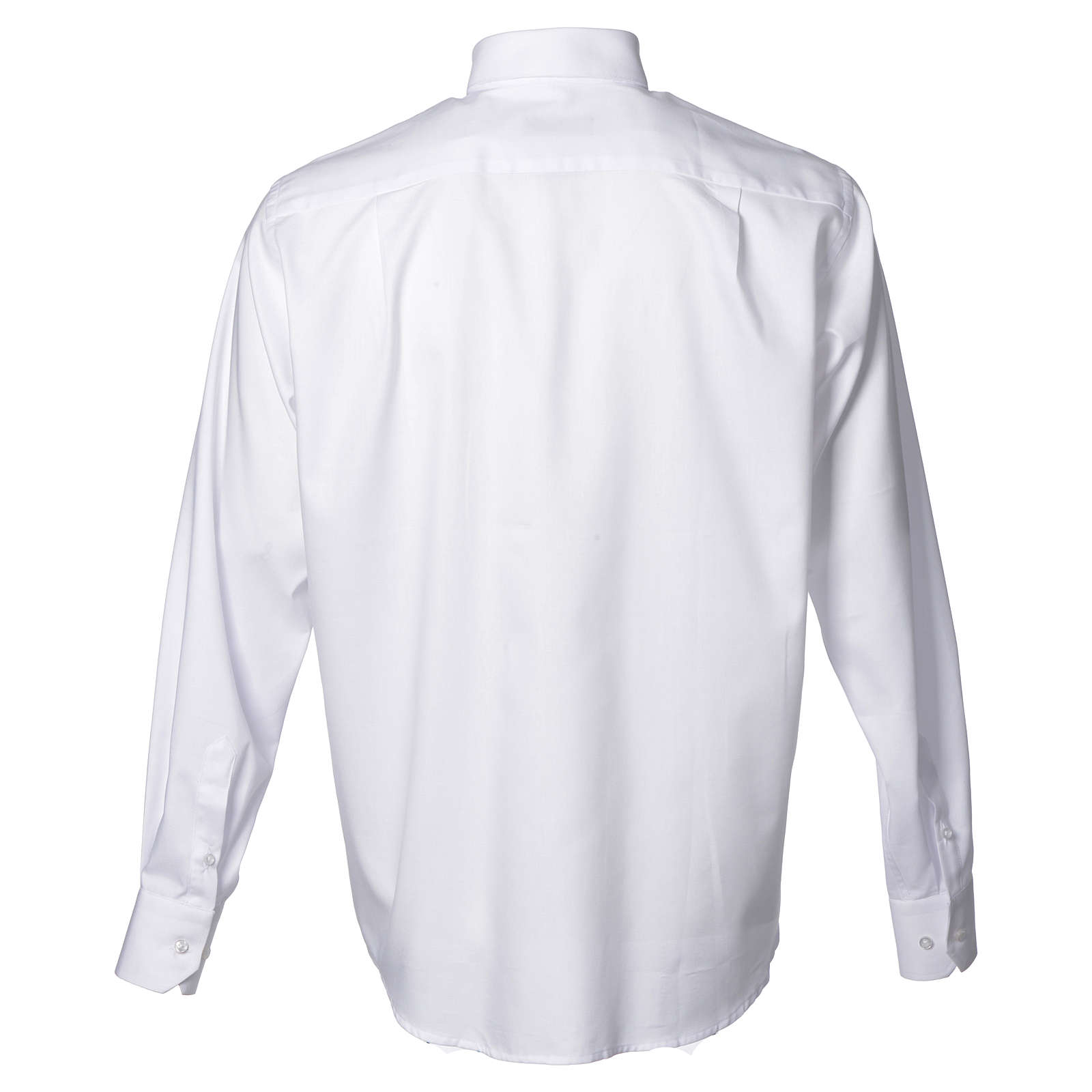 Clergy shirt with long sleeves, easy to iron, white mixed cotton 4