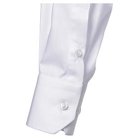 Clergy shirt with long sleeves, easy to iron, white mixed cotton s3