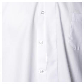 Clergy shirt with long sleeves, easy to iron, white mixed cotton s4