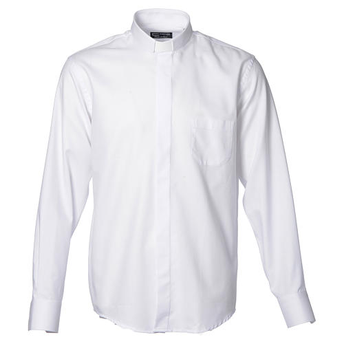 Clergy shirt with long sleeves, easy to iron, white mixed cotton 1