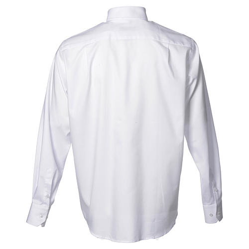 Clergy shirt with long sleeves, easy to iron, white mixed cotton 2