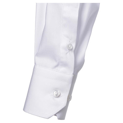 Clergy shirt with long sleeves, easy to iron, white mixed cotton 3