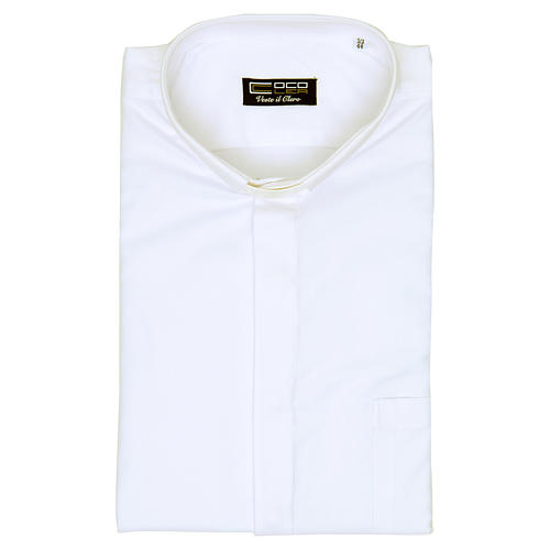 Clergy shirt with long sleeves, easy to iron, white mixed cotton 5