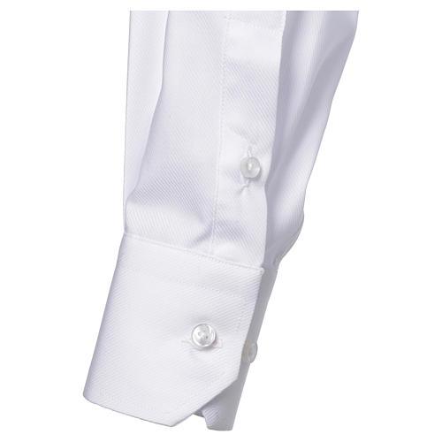 Camicia clergy M. Lunga Facile stiro Diagonale Misto cotone bianco 3