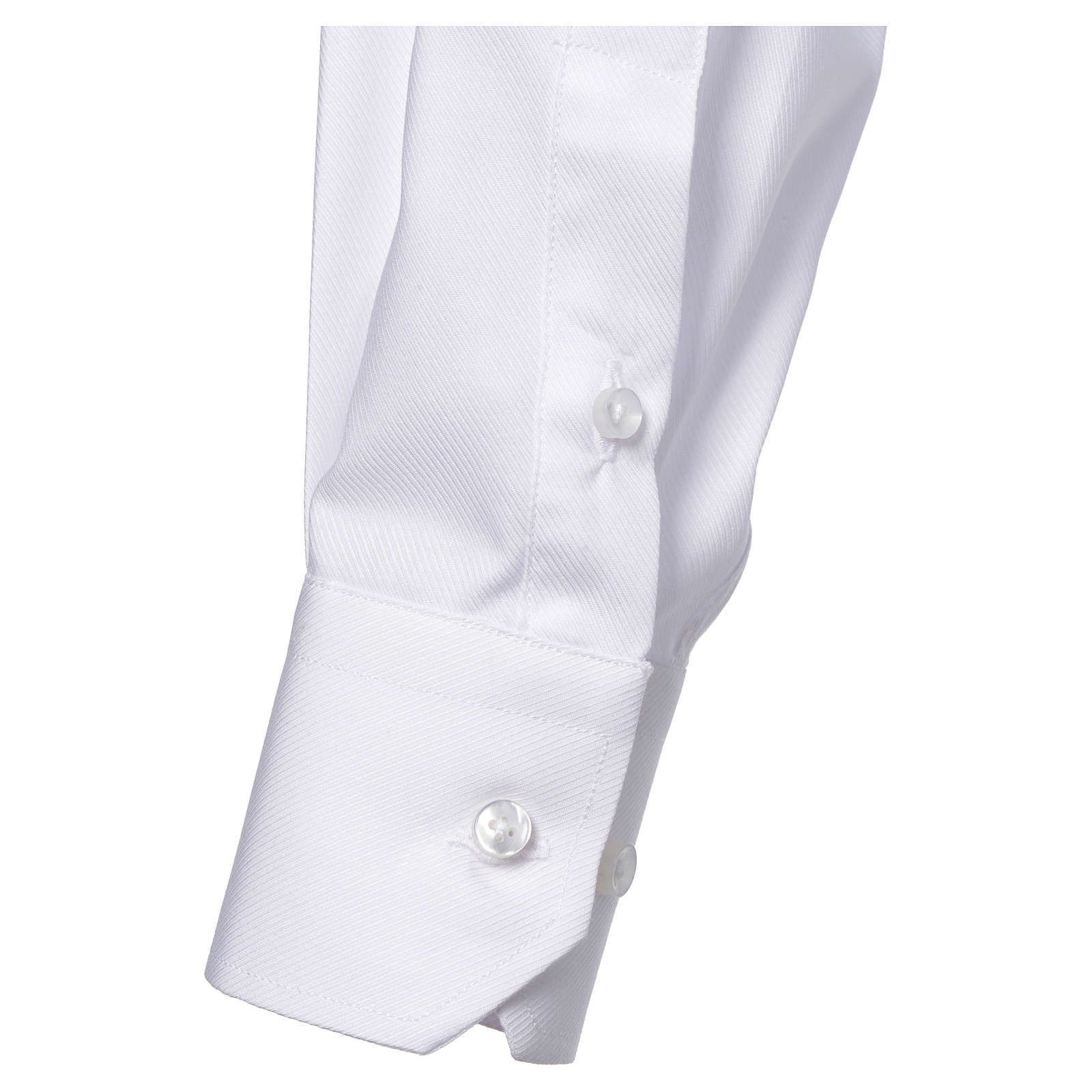 Catholic Priest White Shirt with long sleeves, easy to iron, mixed cotton 4