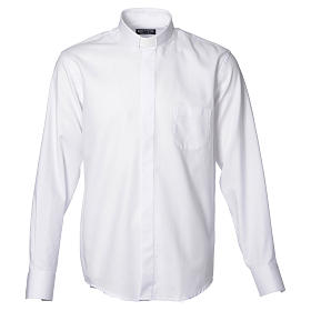 Catholic Priest White Shirt with long sleeves, easy to iron, mixed cotton s1