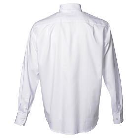 Catholic Priest White Shirt with long sleeves, easy to iron, mixed cotton s2