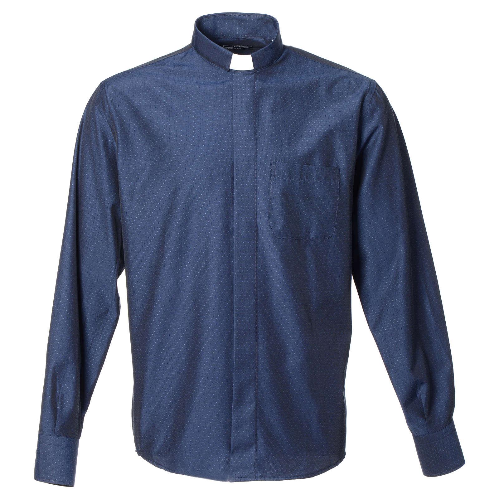 Camicia clergy cotone poliestere blu manica lunga 4