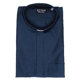 Camicia clergy cotone poliestere blu manica lunga s5