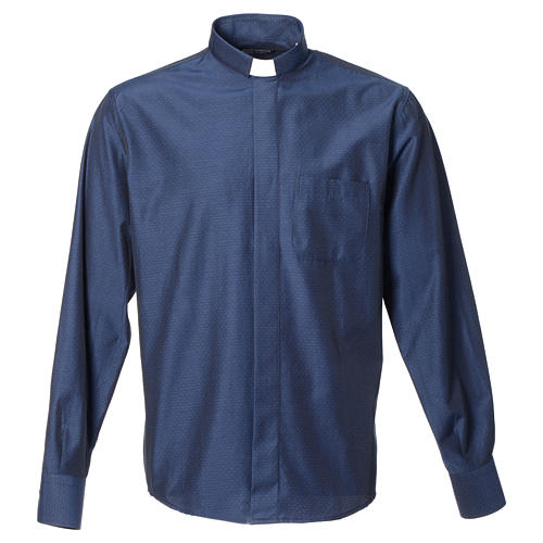 Camicia clergy cotone poliestere blu manica lunga 1