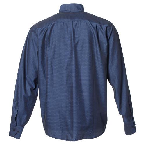 Camicia clergy cotone poliestere blu manica lunga 2