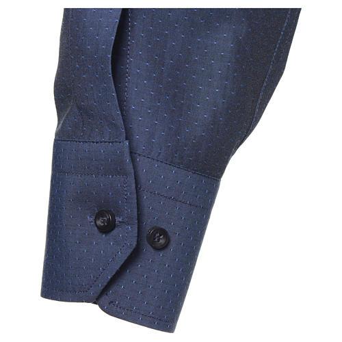 Camicia clergy cotone poliestere blu manica lunga 3