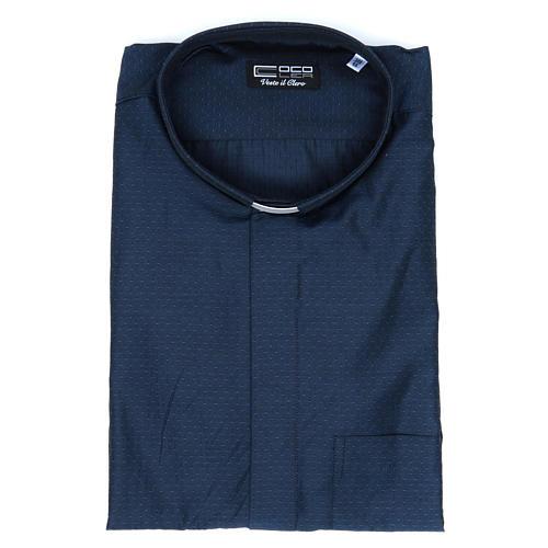 Camicia clergy cotone poliestere blu manica lunga 5