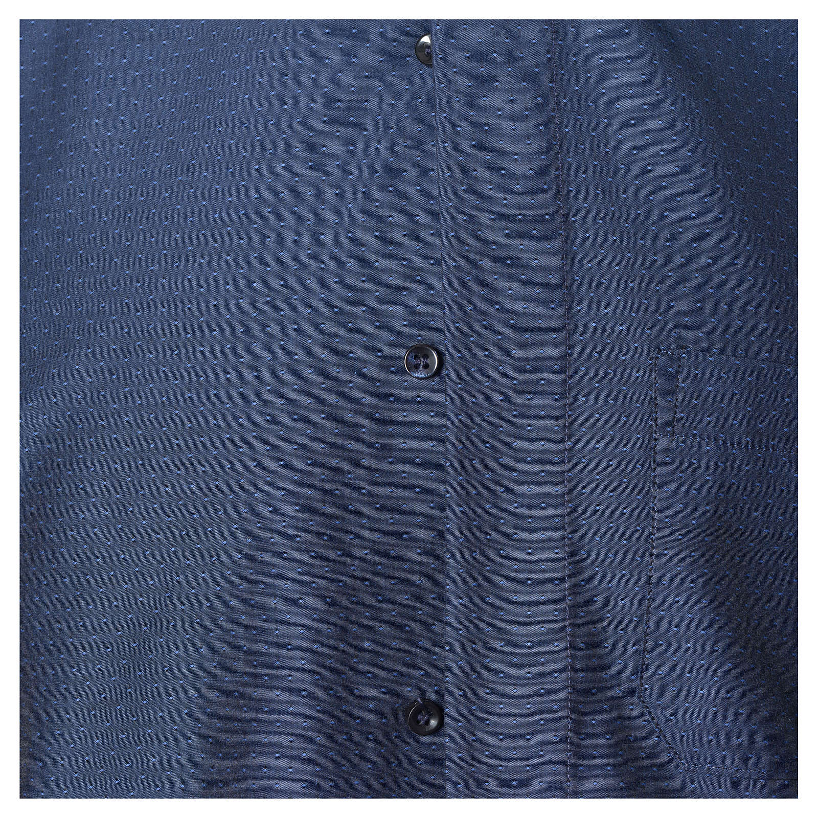 Blue Clergy shirt with long sleeves in cotton and polyester 4