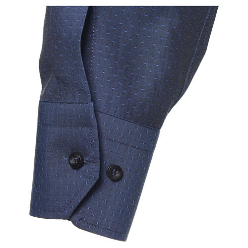 Blue Clergy shirt with long sleeves in cotton and polyester 3