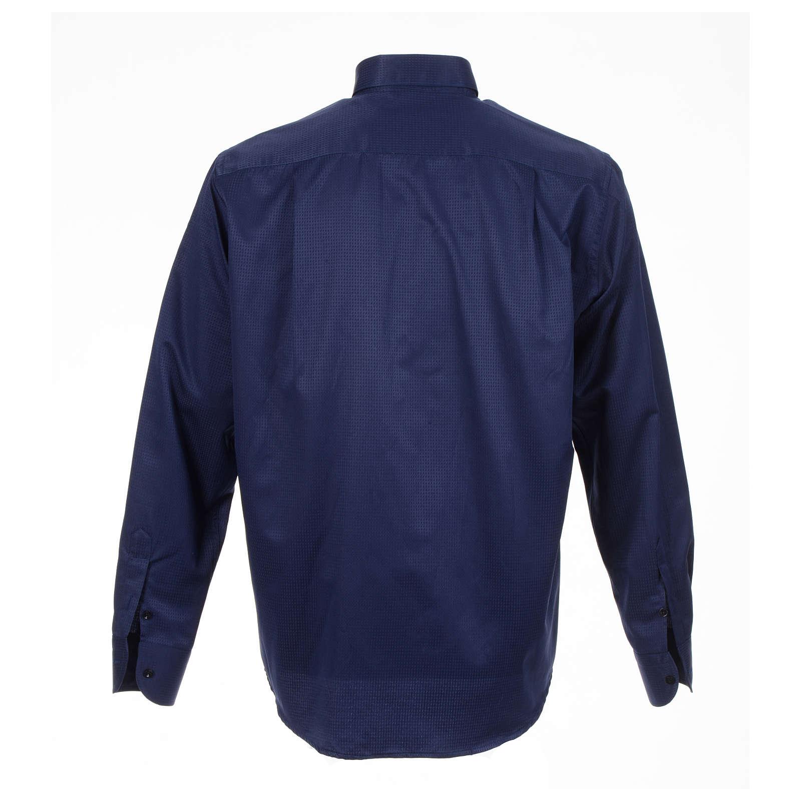 Clerical shirt blue jacquard long sleeve 4
