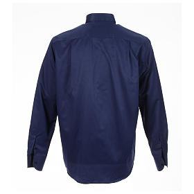 Clerical shirt blue jacquard long sleeve s2