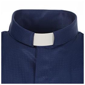 Camisa clergy jacquard azul maga larga s3