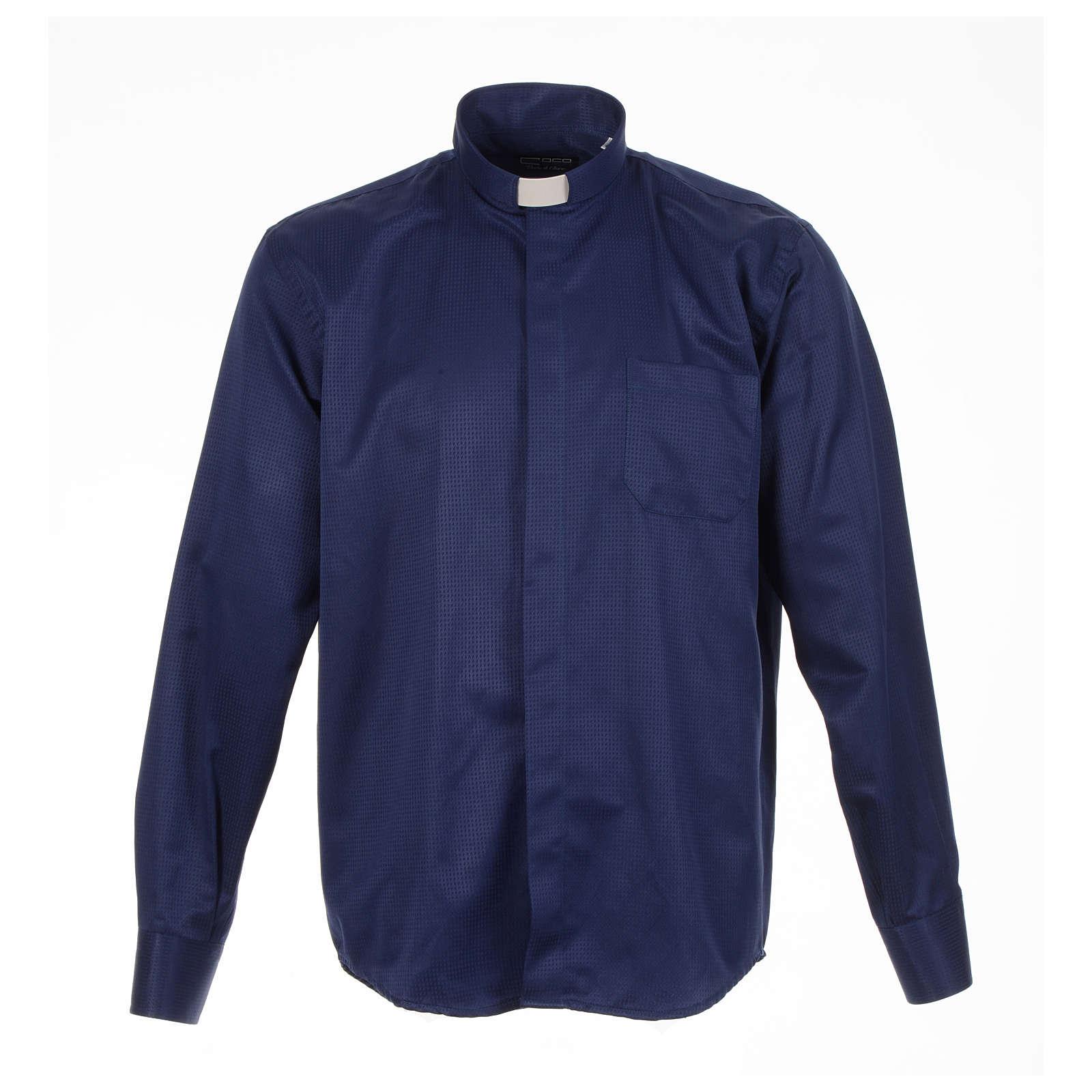 Camisa sacerdote jacquard azul escuro manga longa 4