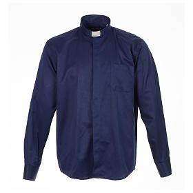 Camisas de Sacerdote: Camisa sacerdote jacquard azul escuro manga longa