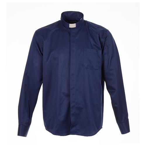 Camisa sacerdote jacquard azul escuro manga longa 1