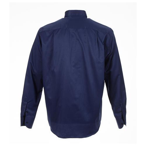 Camisa sacerdote jacquard azul escuro manga longa 2