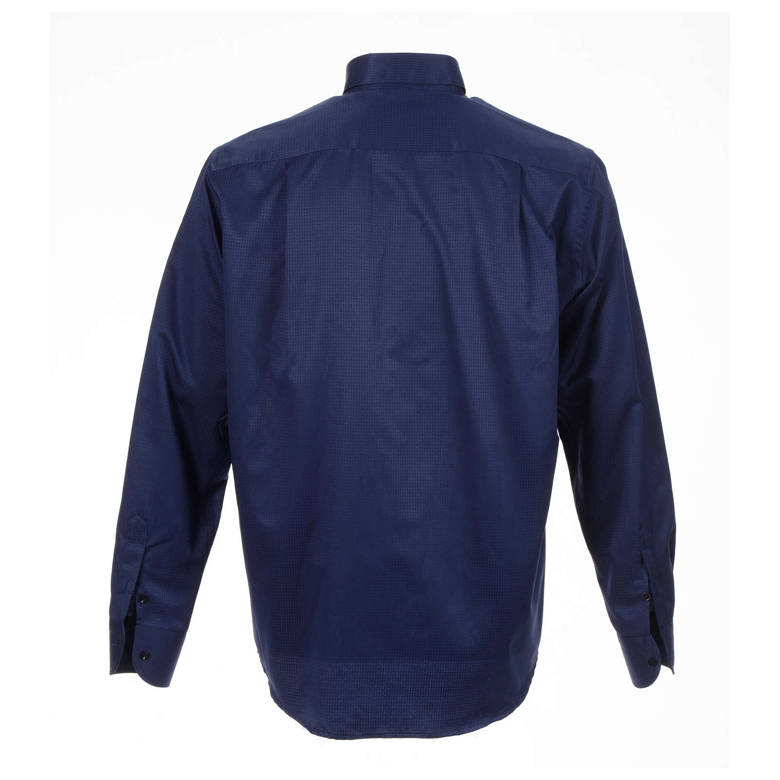 Long sleeve tab collar shirt, blue jacquard 4
