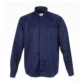 Long sleeve tab collar shirt, blue jacquard s1