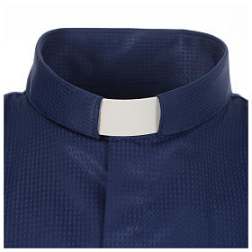 Long sleeve tab collar shirt, blue jacquard s3