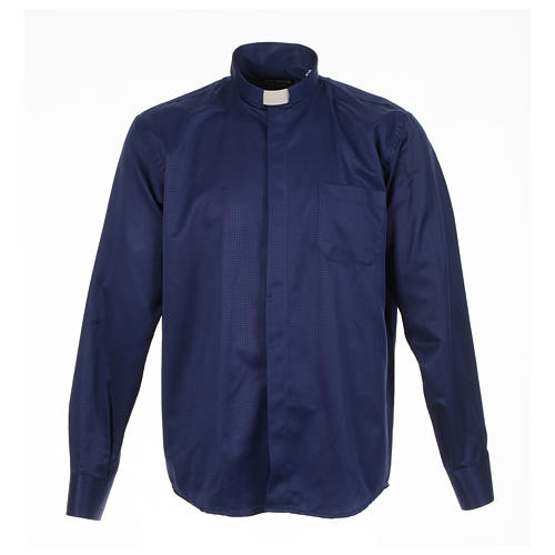 Long sleeve tab collar shirt, blue jacquard 1