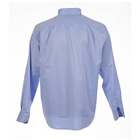Clergy shirt sky blue jacquard long sleeve s2