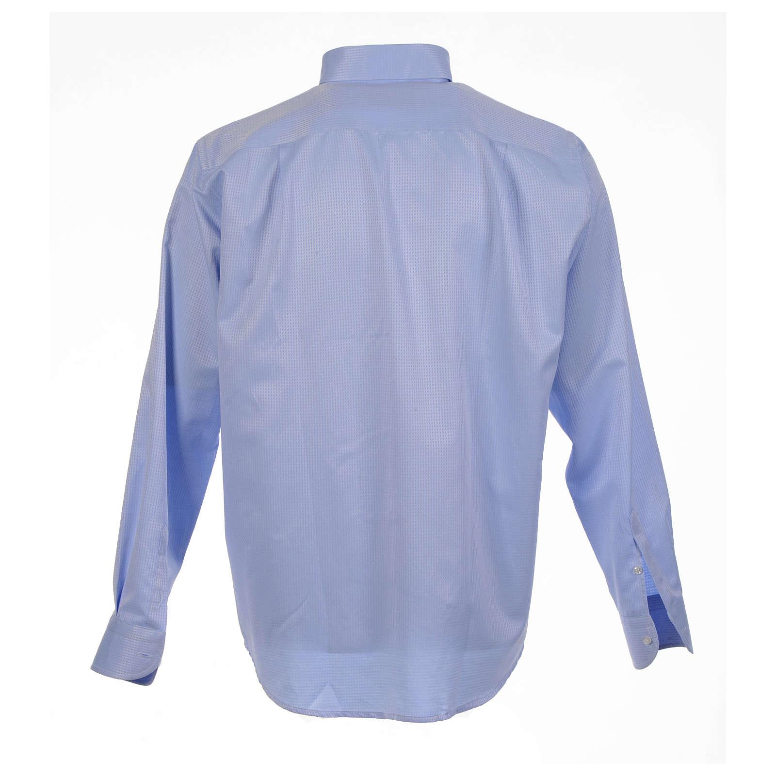 Camisa clergy jacquard celeste manga larga 4