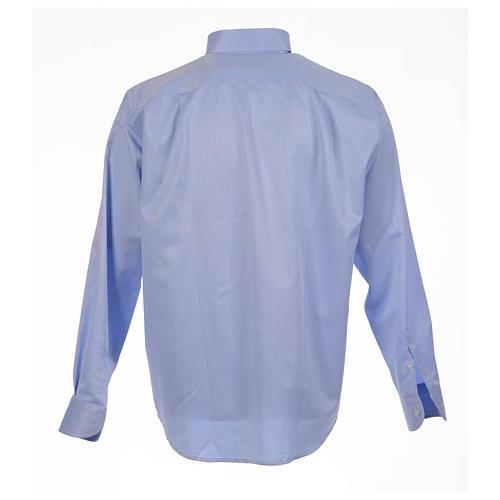 Camisa clergy jacquard celeste manga larga 2
