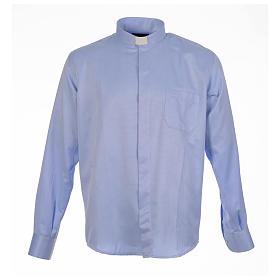 Camisas de Sacerdote: Camisa sacerdote jacquard azul manga longa