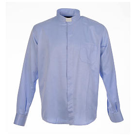 Clergy long sleeve shirt in sky blue, jacquard s1