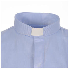 Clergy long sleeve shirt in sky blue, jacquard s3
