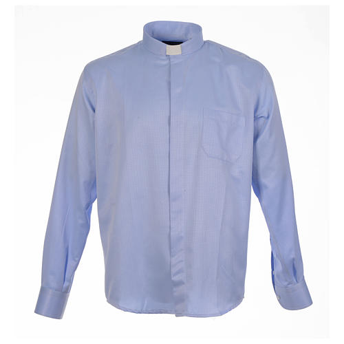 Clergy long sleeve shirt in sky blue, jacquard 1