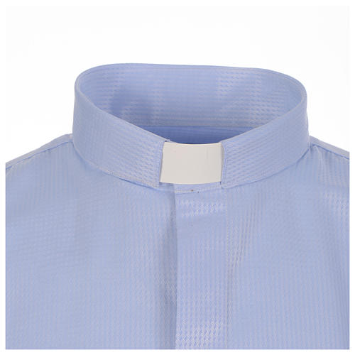 Clergy long sleeve shirt in sky blue, jacquard 3