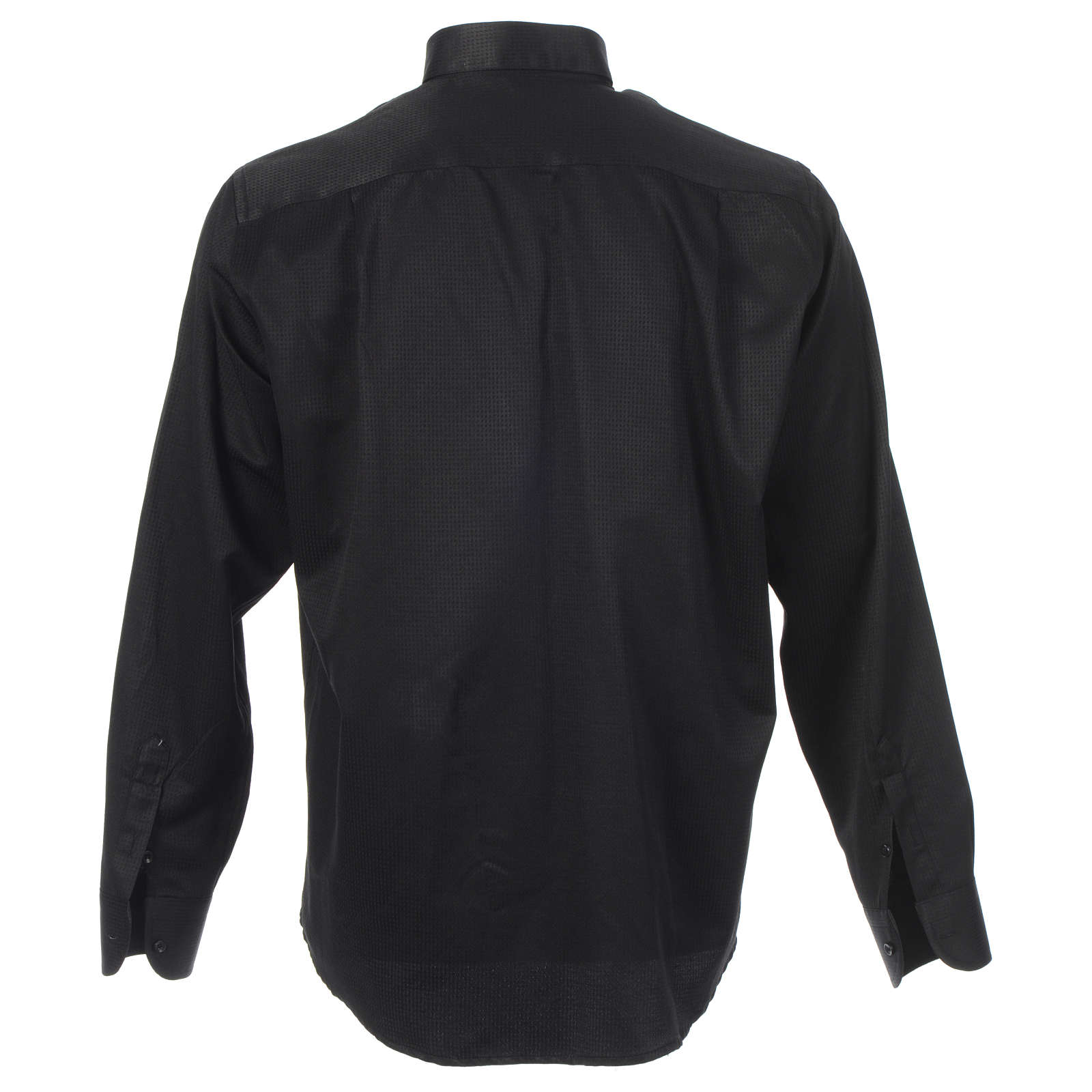 Long sleeve clerical shirt, black jacquard 4