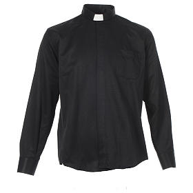 Long sleeve clerical shirt, black jacquard s1
