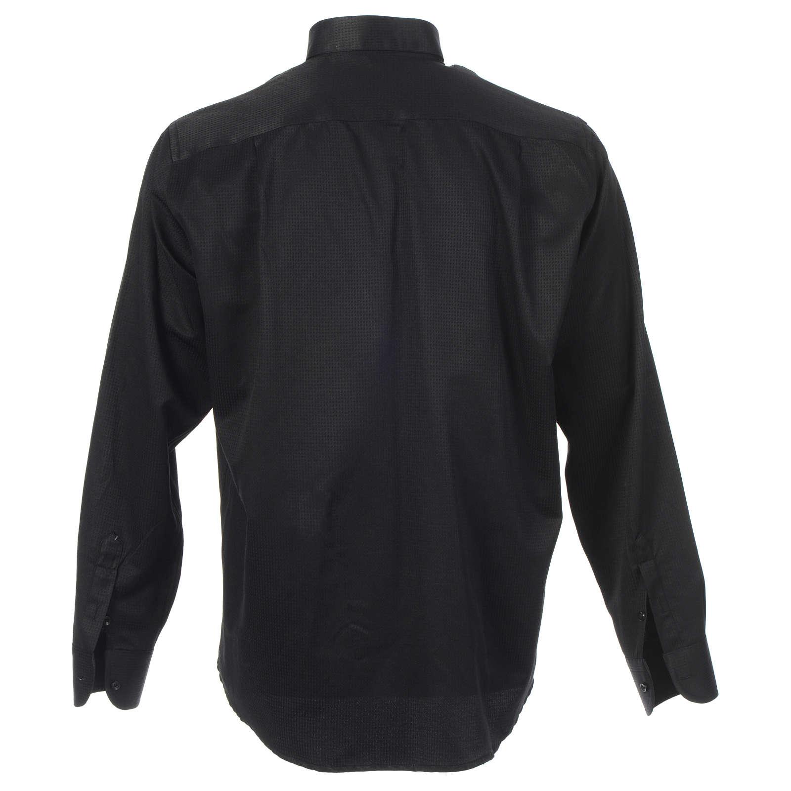 Camisa clergy sacerdote jacquard negro manga larga 4