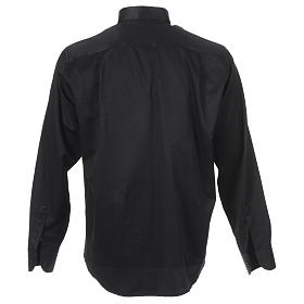Camisa clergy sacerdote jacquard negro manga larga s2