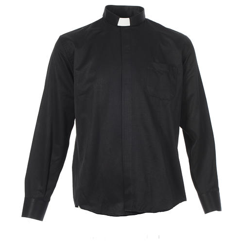Camisa clergy sacerdote jacquard negro manga larga 1