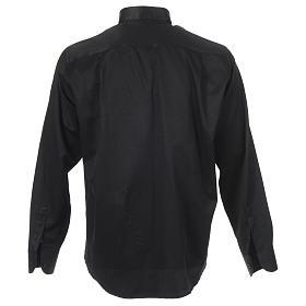 Chemise clergy jacquard noir manches longues s2