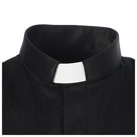 Chemise clergy jacquard noir manches longues s3