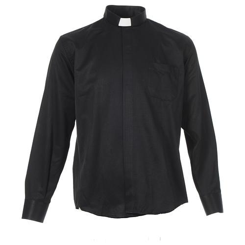 Chemise clergy jacquard noir manches longues 1