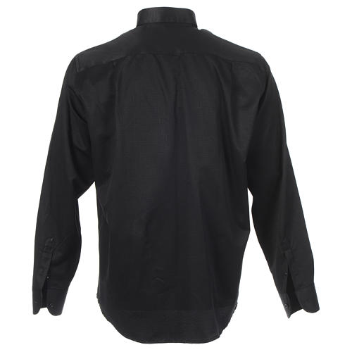 Chemise clergy jacquard noir manches longues 2