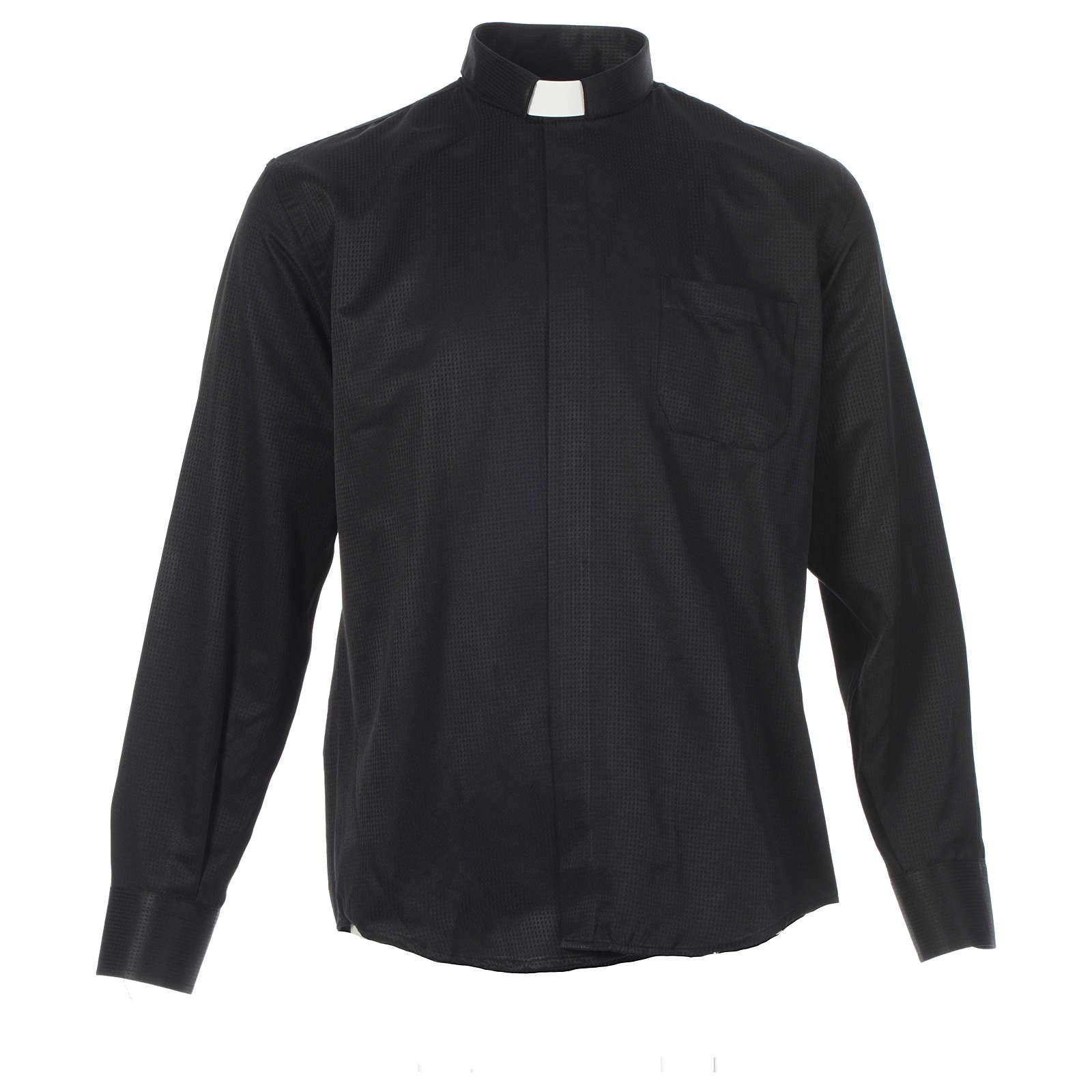 Camisa sacerdote jacquard preto manga longa 4