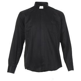 Camisas de Sacerdote: Camisa sacerdote jacquard preto manga longa