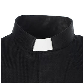 Camisa sacerdote jacquard preto manga longa s3